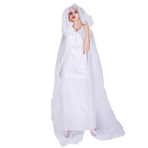 EraSpooky Damen Geist Braut von Weiß Kostüm mit Umhang Cape Mantel Faschingskostüme Cosplay - Halloween Party Karneval Fastnacht Kleidung für Erwachsene