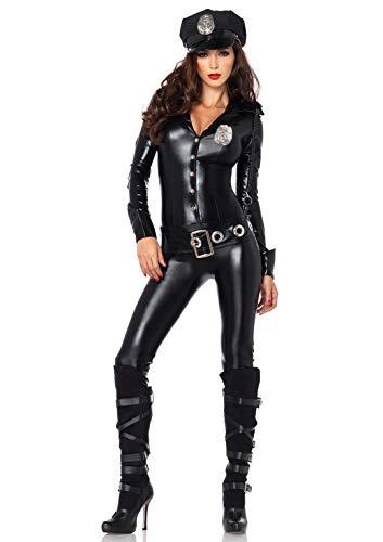 Leg Avenue 83912 - Officer Payne Kostüm, Größe S, schwarz Officer-overall