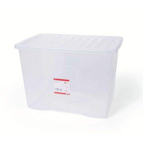 5 Star Office 938499 80 Liter Kunststoff stapelbar Clip Box mit Deckel, transparent