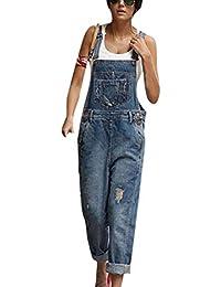 bd218663c Huateng Moda para Mujer Pantalones Vaqueros desgarrados Bib Overol Peto Jeans  Monos