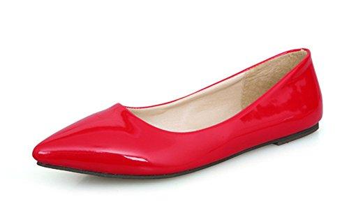 Aisun-Damen-Lack-Spitz-Bequem-Flache-Schuhe-Slipper-Loafer-Rot-37-EU