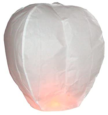 5 x White Sky Lanterns - Eco Friendly Sky Lanterns for Christmas, New Years Eve, Chinese New Year, Weddings & Parties. 5 x Chinese Lanterns