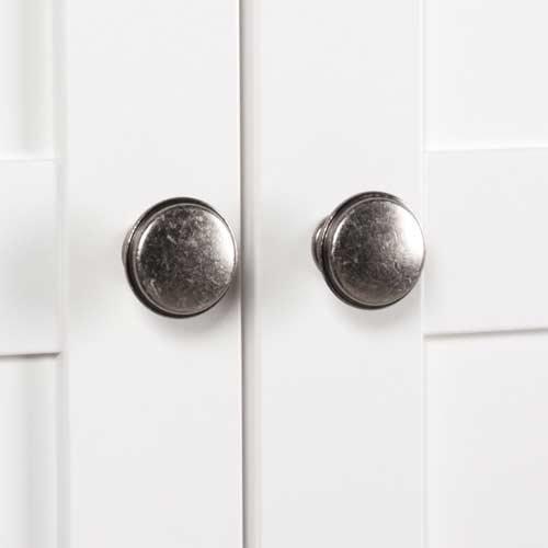 Sideboard in weiß, 4 Schubkästen, 4 Türen, 4 breite Einlegeböden,Metallknöpfe im Vintage-Look,Maße: B/H/T ca. 200/90/40 cm - 5