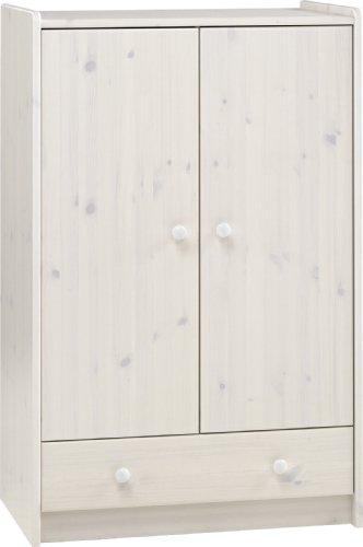 Steens For Kids Kleiderschrank, Kinderzimmerschrank mit Wäscheeinnteilung, 79 x 123 x 53 cm (B/H/T), Kiefer massiv, weiß