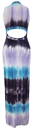 erdbeerloft - Damen Figurbetontes Maxi Batikkleid mit Cut Outs, 34-40, Viele Farben Blau-Violett