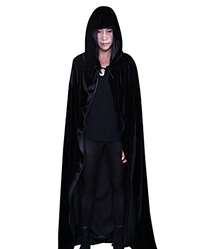 (Halloween Umhang mit Kapuze Karneval Fasching Kostüm Tod umhänge Cosplay Hexen Robe Schwarz)
