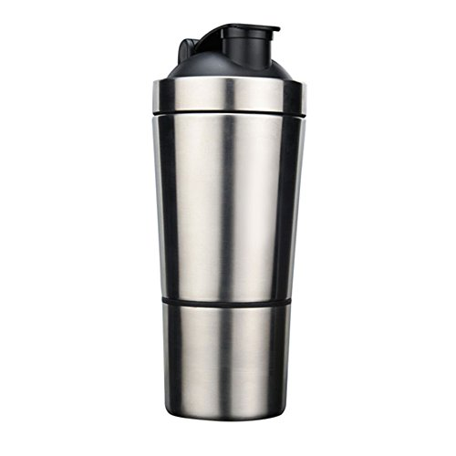 QuiFit Edelstahl Shaker Fitness Edelstahl Protein Shaker Eiweiß zum Mischen von Eiweiß und Sportgetränken, aus hochwertigem 18/8 Edelstahl |Mit Zusätzlichem Abnehmbaren Pulverbehälter700ML+200ML