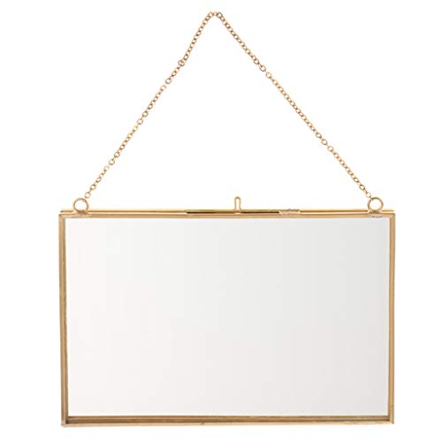 Homyl Doppelseitig Wandbehang Bilderrahmen Fotorahmen Pflanzenbilder Glas Metall Rahmen - A 18x13cm