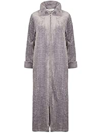Slenderella Ladies Faux Fur Collar Dressing Gown Zip Up Super Soft Fleece  Bathrobe (Small - ccb929d60