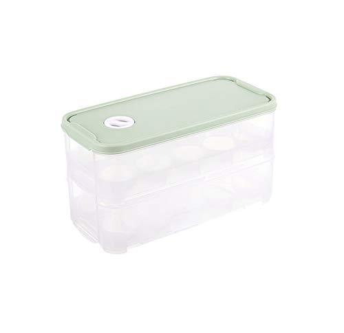 AFFC Porta-Huevos con Tapa, Caja de Almacenamiento frigorífico. 20 bandejas para Huevos, Transparentes. (2 Capas),Green