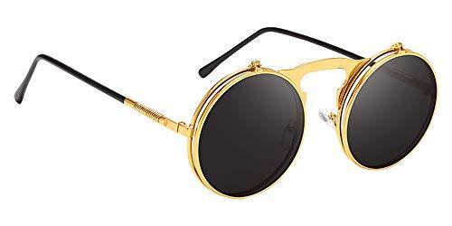 KINDOYO Flip up Runden Sonnenbrille - Metall Steampunk Retro Kreis Brillen für Herren & Damen Golden Schwarz