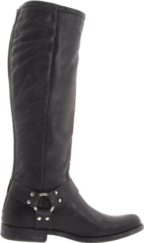FRYE Women's Phillip Harness Tall medium calf Boot, Black Soft Vintage Leather, 10 M US Black Soft Vintage Leather-76850