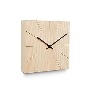 Natuhr Wanduhr Tischuhr Holz Esche - Beam - geräuscharm Massivholz modern Design 17 x 17 cm (Schwarze Zeiger, Esche unbehandelt)