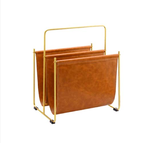 KISlink Metallic Leder Zeitungsständer Regal Zeitungsständer Blau Heimtextilien Lagerfläche Einfach (40x30x47cm) ++ (Farbe: Orange) Metallic-stich