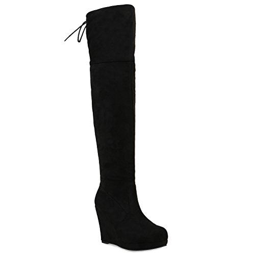 Damen Stiefel Overknees Keilabsatz Boots Schuhe 122673 Schwarz Brooklyn 36 Flandell