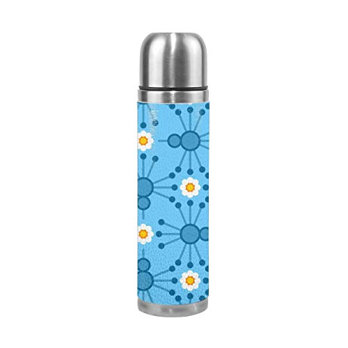 Pads bag Pin Bird Bloom Blue 17 Oz(500ML) Double Layer Leak-Proof Stainless Steel Vacuum Insulated Water Bottle (Blue Bird Pin)
