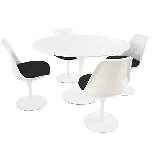 Eero Saarinen Jeu de Style Tulip - Blanc Grande Table Circulaire avec Quatre chaises Blanches et Noires