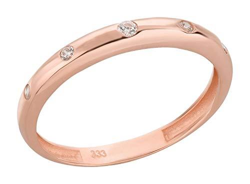 Ardeo Aurum Damenring aus 333 Gold Roségold mit Zirkonia im Brillant-Schliff Antragsring Verlobungsring
