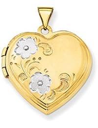 14k & Rhodium Floral Heart Locket by UKGems