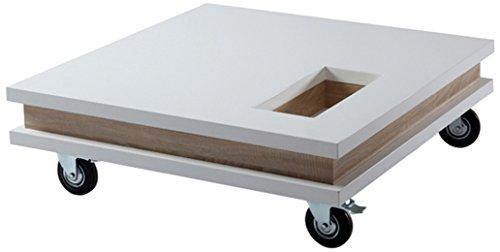 ACTUAL DIFFUSION ELIOSBL Table Basse Carrée à roulettes Bois 100 x 100 x 27 cm