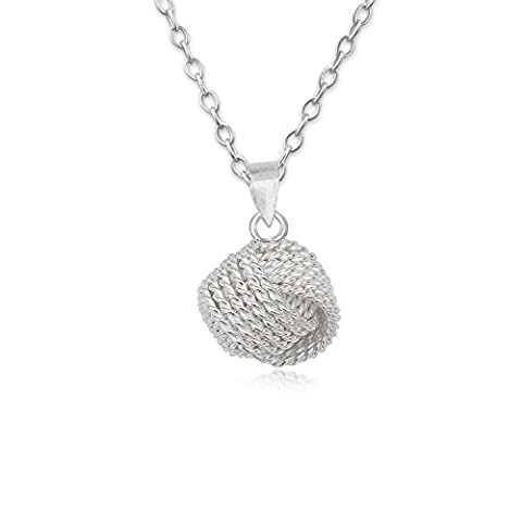 EYS JEWELRY® Damen-Halskette 60 cm Knoten Kugeln 11 x 10 mm blank 925 Sterling Silber silber im Etui Damenkette Anhänger