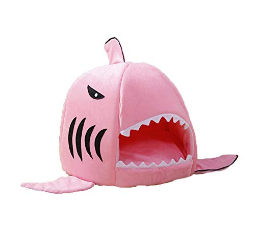 GUANG Nido De Tiburón Perrera Gato Litera Mascota Nido Extraíble Lavable Mat Pet Cama,Red,L