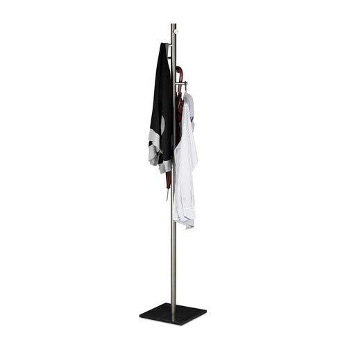 Relaxdays Garderobenständer Pierre, Freistehende Garderobe u. Kleiderständer, f. Flur, Diele, HBT 180x30x30 cm, marmor