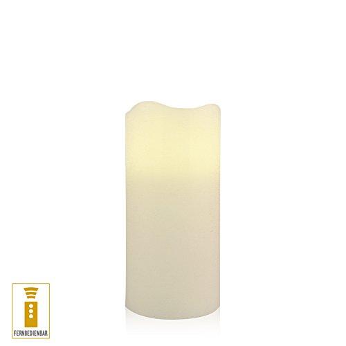 luz decoración Vela LED de cera (7,5x 14cm temporizador mando a distancia color marfil