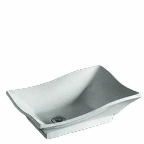 Whitehaus WHKN1078-WH Isabella 20-Inch Rectangular Above Counter Lavatory Basin with Offset Center Drain and No Overflow, White by Whitehaus Collection - Offset-drain