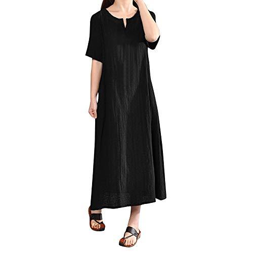 iYmitz O-Neck Kleider Damen Freizeit Strandkleider Lose Sommerkleider Einfarbig Tunika Leinen Shirtkleid Midikleider(X2-Schwarz,EU-38/CN-L)