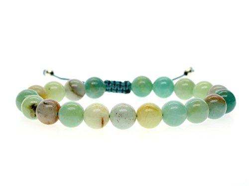 Coai bracciale donna regolabile in amazzonite, bracciale da preghiera con perle mala