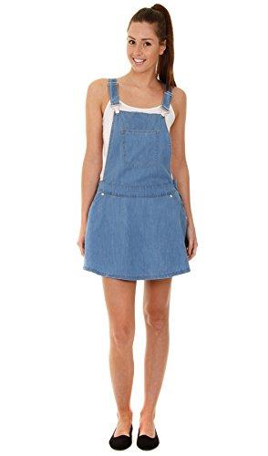 Damen Latz-Kleid - Stonewash Frauen Sommer Jeans-Latzhose Denim 34 36 38 40 42 WOM113-L-UK12