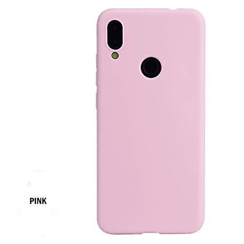 Markest Funda para Teléfono Móvil Inteligente para Xiaomi Redmi Note 7, Parachoques a Prueba de Golpes, Opción TPU Ultra-Delgada con Cubierta Helada y un Orificio de Honda(Rosa)