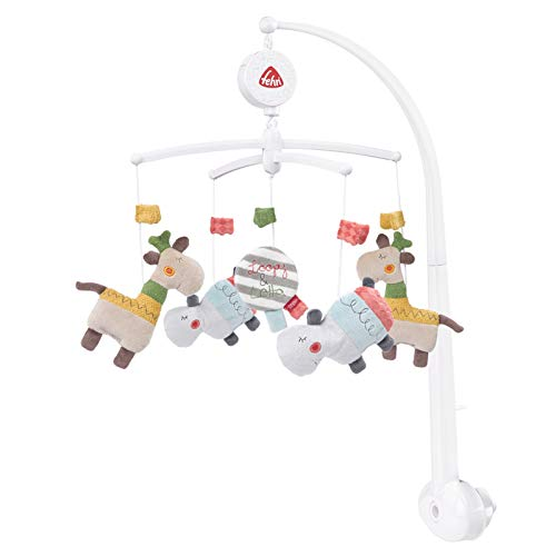 FEHN 059021 Musik-Mobile Loopy & Lotta / Spieluhr-Mobile mit niedlichen Figuren zum Beobachten, Lauschen & Staunen - Zum Befestigen am Bett für Babys von 0-5 Monaten - Höhe: 65 cm, ø 40 cm