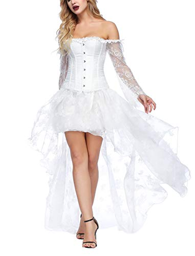 FeelinGirl Damen Korsagekleid Steampunk Gothic Kostüm Magic Mistress Hexenkostüm Teufelchen Halloween Cosplay Priatbraut, Weiß, L(EU 38-40)