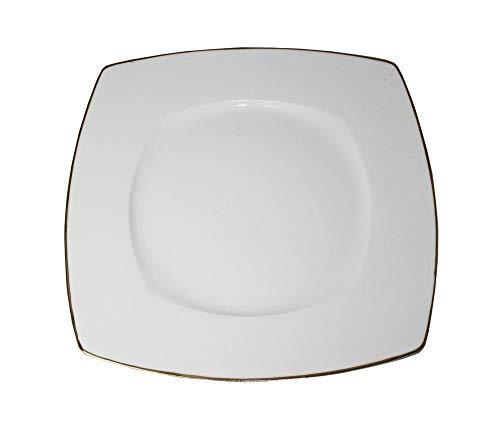 Lot de 6 Assiettes Plates Carrées 27 cm en Porcelaine Blanche Filet Or
