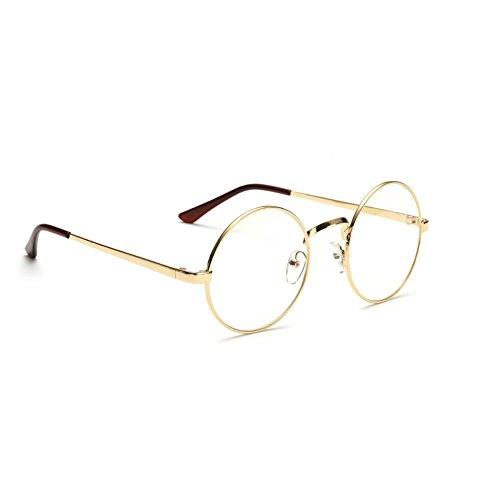 Damen Runde Brille herren Sonnenbrille Dekobrille mit Fensterglas Metallrahmen Klassisch gold