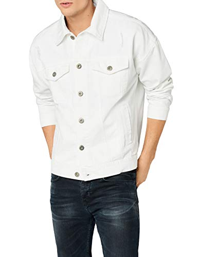 Urban classics ripped denim jacket, giacca in jeans uomo, bianco (white 00220), small