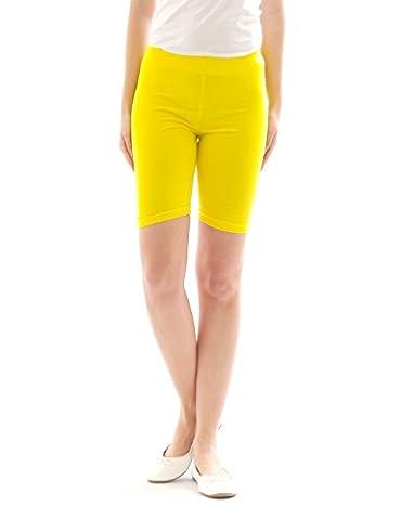 Damen Sport Shorts Hotpants Sportshorts Radler kurze Leggings Baumwolle gelb