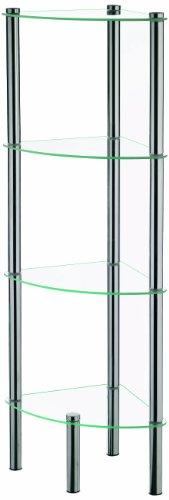 Kela 18102 ole - angoliera a 4 ripiani in vetro e metallo, 28,5 x 28,5 x 106 cm