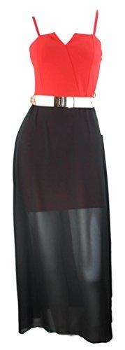 #2151 festif chiffon robe de soirée en chiffon de bustier goldgürtel taille 34/36/38 Noir - Rouge