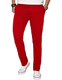 A. Salvarini Herren Designer Chino Stoff Hose Chinohose Regular Fit AS016