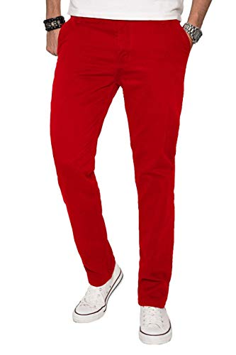 A. Salvarini Herren Designer Chino Stoff Hose Chinohose Regular Fit AS016 AS-016-Rot-W31-L30