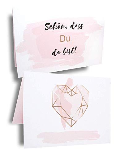 hooyeah 25 Stück Tischkarten Tischkärtchen Namenskärtchen für Hochzeit, Geburtstag, Taufe | weiß, rosa, roségold/Kupfer | Geometrisches Herz