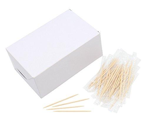 (Holz-Zahnstocher, 6,5 cm Länge, einzeln verpackt, Premium-Qualität, 1000 Stück)
