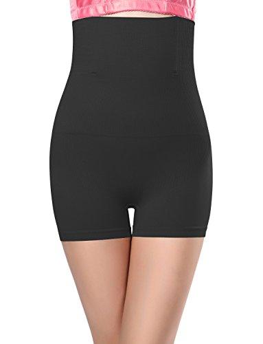 Le'sleeQ Damen Hoher Taille Boyshort Body Shaper Bauch-Control Shapewear Slip, Damen, schwarz, US S-M / (Seller L)