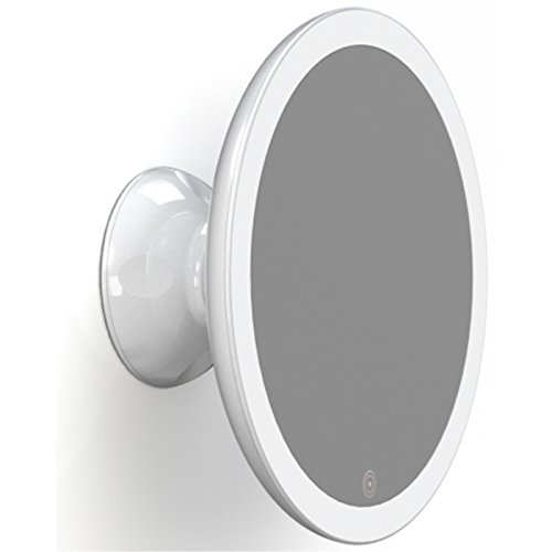 HoMedics Beauty Touch and Glow wiederaufladbarer LED Spiegel mit Saugknopf - Dimmbar, Perfekt für das Bad, Beleuchtung fürs Auftragen von Make-Up und Styling, 5-fache Vergrößerung -