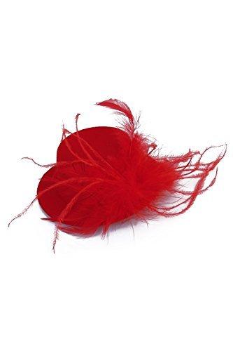 TOOGOO(R) Dames Barrette Plume rouge Burlesque Punk Mini Rouge Chapeau