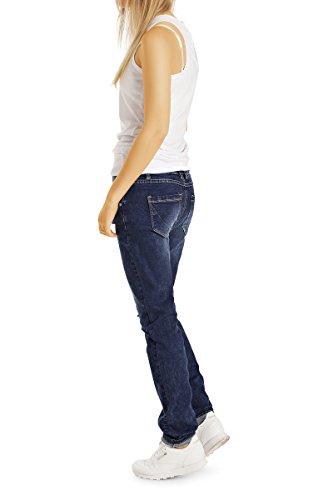 Bestyledberlin Damen Baggy Jeans, Relaxed Destroyed Denim Hose, Loose Fit Flicken-Jeans j31k Dunkelblau