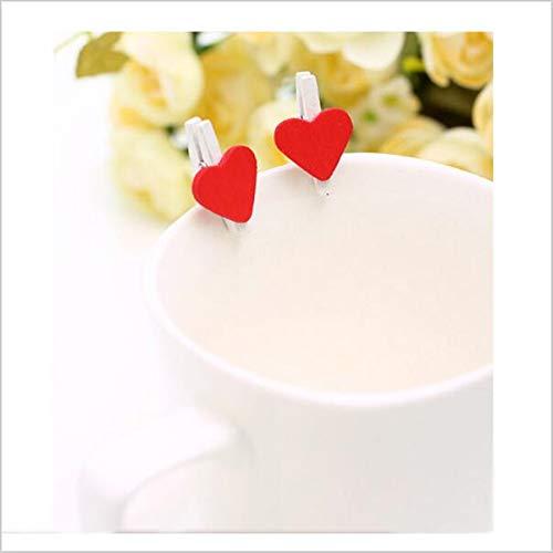 Vazan - 48pcs / Bag Mini-Herz-Liebe hölzerne Kleidung Fotopapier Peg Pin Clothespin Craft Postkarte Clips Startseite Hochzeit Dekoration [4pc]